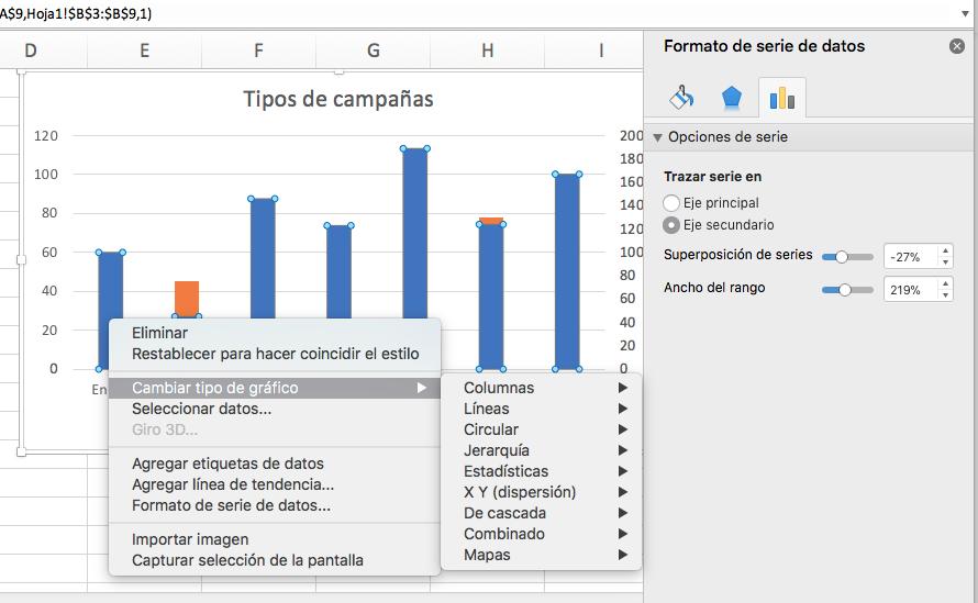 Cómo hacer una gráfica con variables: cambia el tipo de gráfico