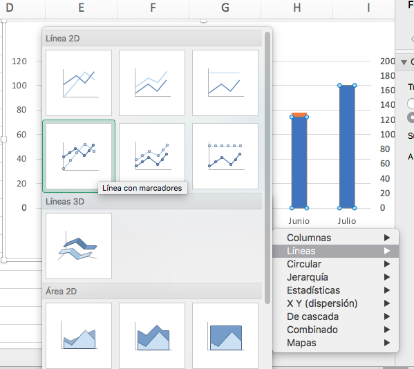 Cómo hacer una gráfica con variables: elige tu gráfico de línea