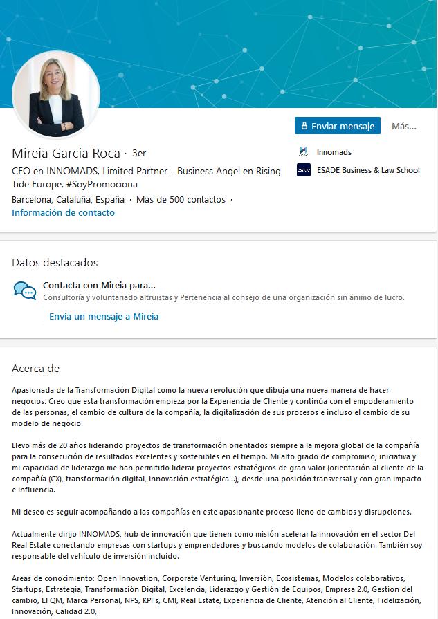Extractos de LinkedIn originales: ejemplo de Mireia Garcia Roca