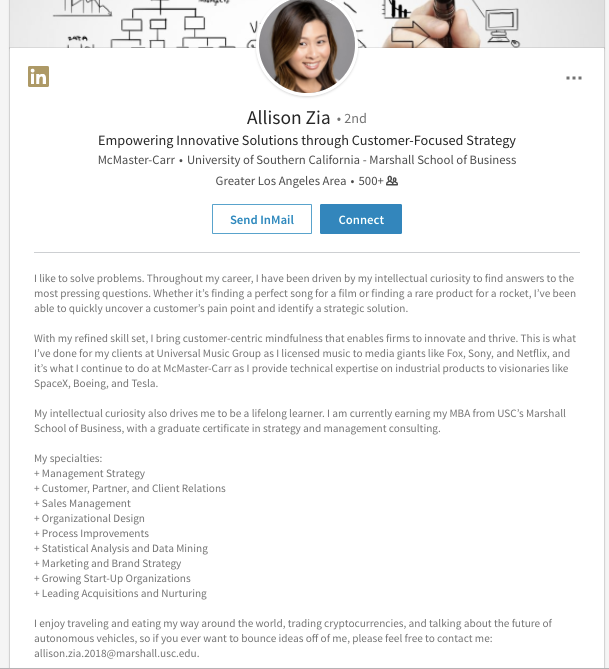 Mejores extractos de LinkedIn: ejemplo de Allison Zia