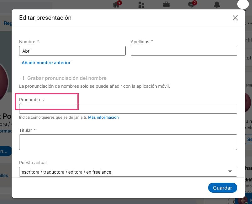 Ejemplo de extractos de LinkedIn: cómo agregar los pronombres