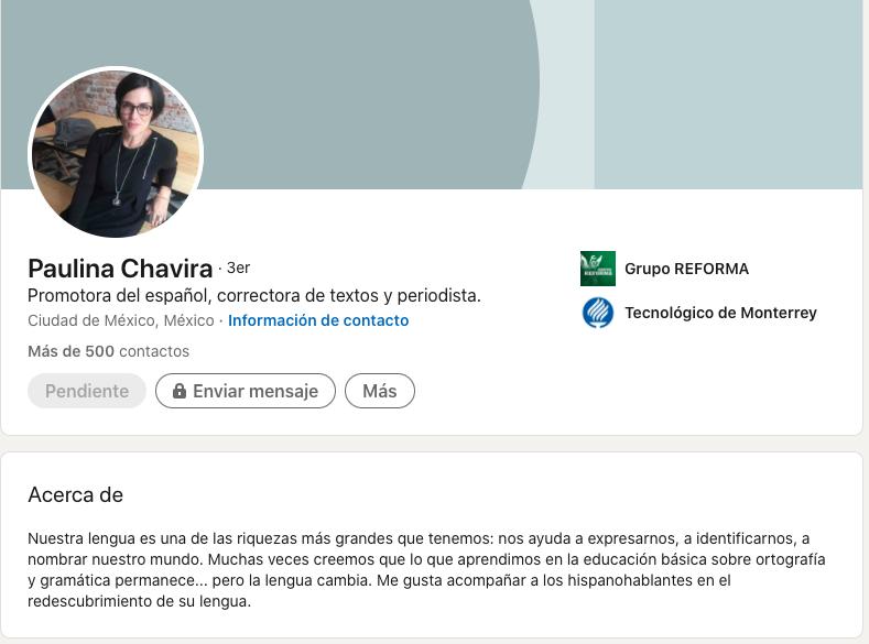Mejores extractos de LinkedIn: ejemplo de Paulina Chavira