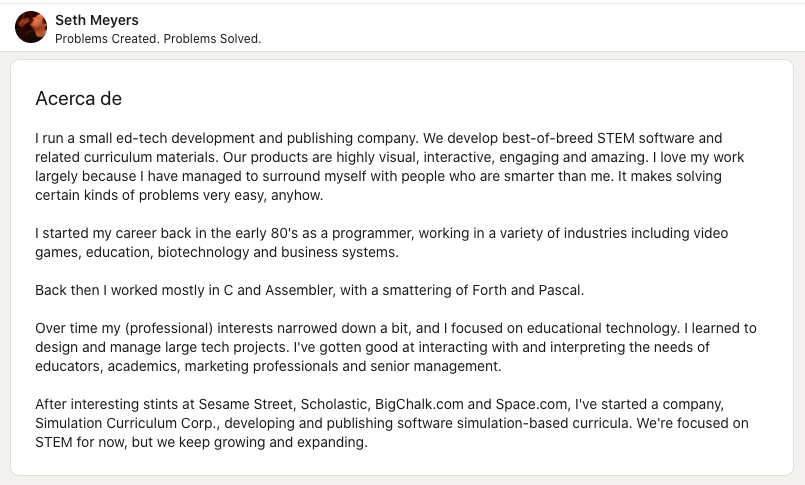 Extractos de LinkedIn originales: ejemplo de Seth Meyers