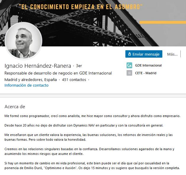 Extractos de LinkedIn originales: ejemplo de Ignacio Hernández-Ranera