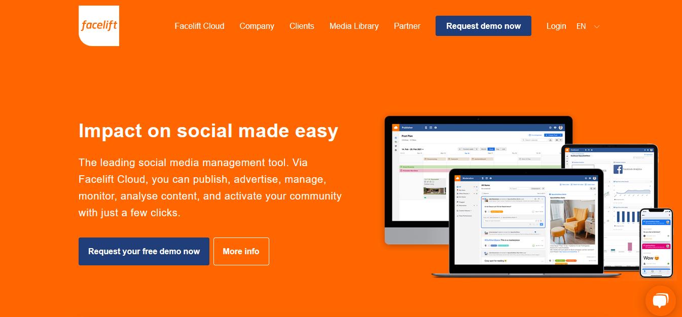 Herramientas para programar publicaciones en redes sociales: Facelift Cloud