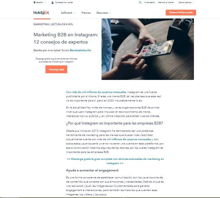 Estructura de un blog: ejemplo de una entrada de blog