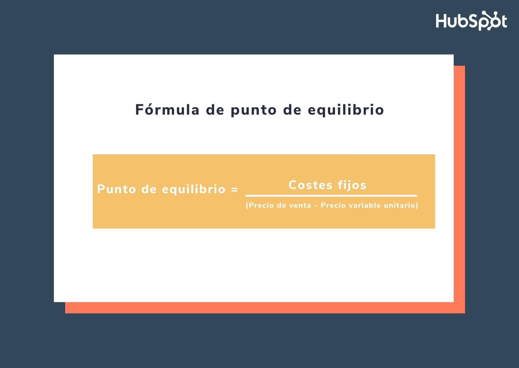 Fórmula para obtener el punto de equilibrio