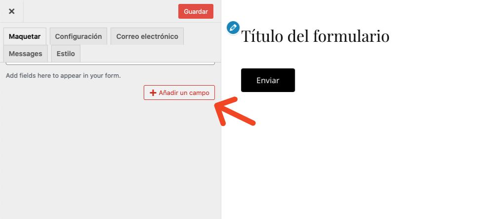 Formulario de contacto en WordPress: título del formulario