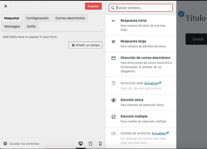 Opciones de plugin de formulario de contacto en WordPress