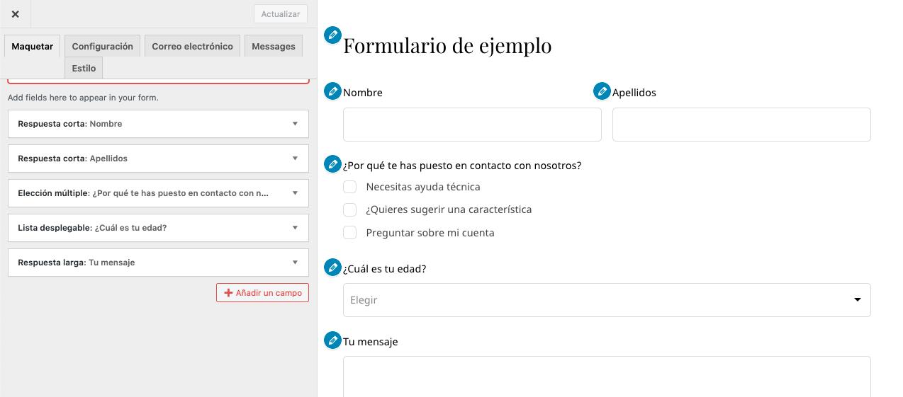Panel de edición de formulario de contacto de WordPress sin plugins