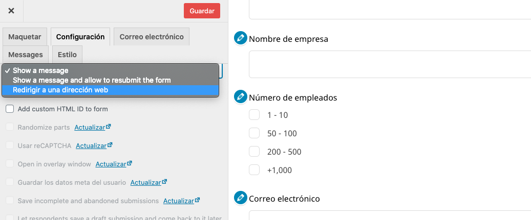 Configurar plugins de formulario en WordPress