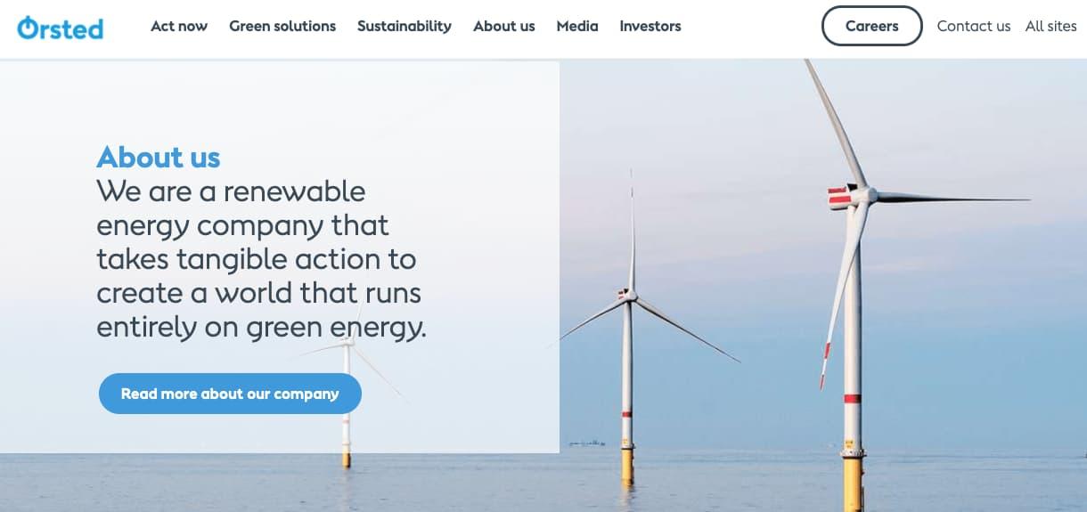 Ejemplo de empresas que usan globalización tecnológica: Orsted