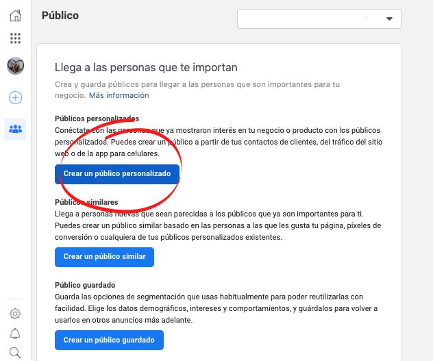 Cómo hacer remarketing en Facebook: selecciona «Crear un público personalizado»