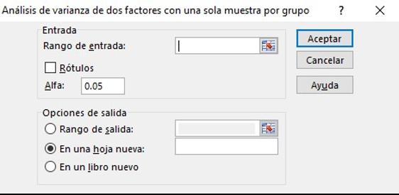 Herramientas de análisis de datos en Excel: análisis de varianza de factores