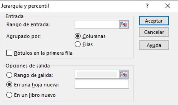 Herramientas de análisis de datos en Excel: jerarquía y percentil