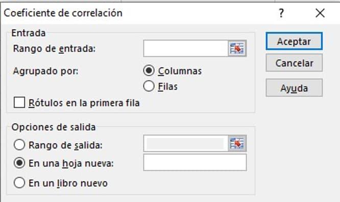 Coeficiente de relación, herramienta de análisis de datos en Excel