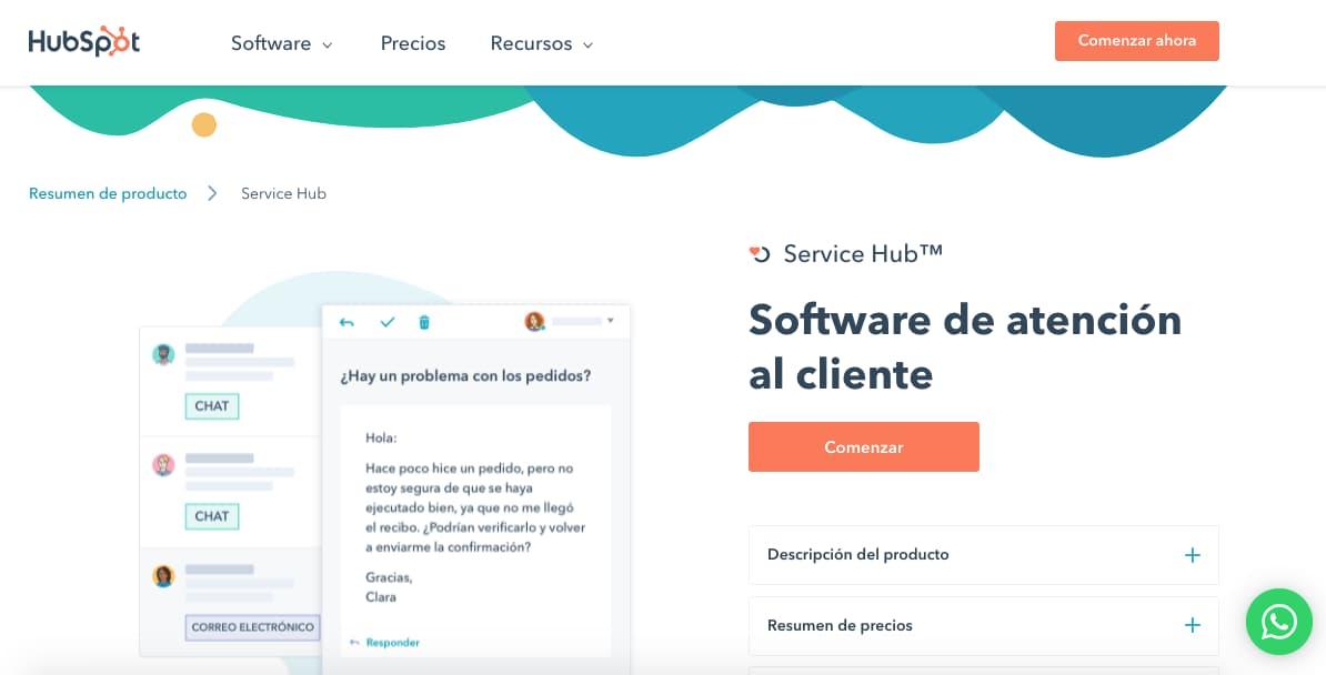 Mejor service desk: HubSpot (Sales Hub)