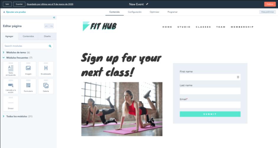 Herramientas para hacer una landing page gratis: HubSpot