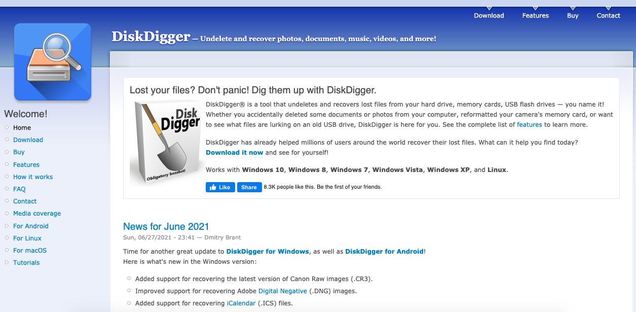 Programas para recuperar archivos: DiskDigger
