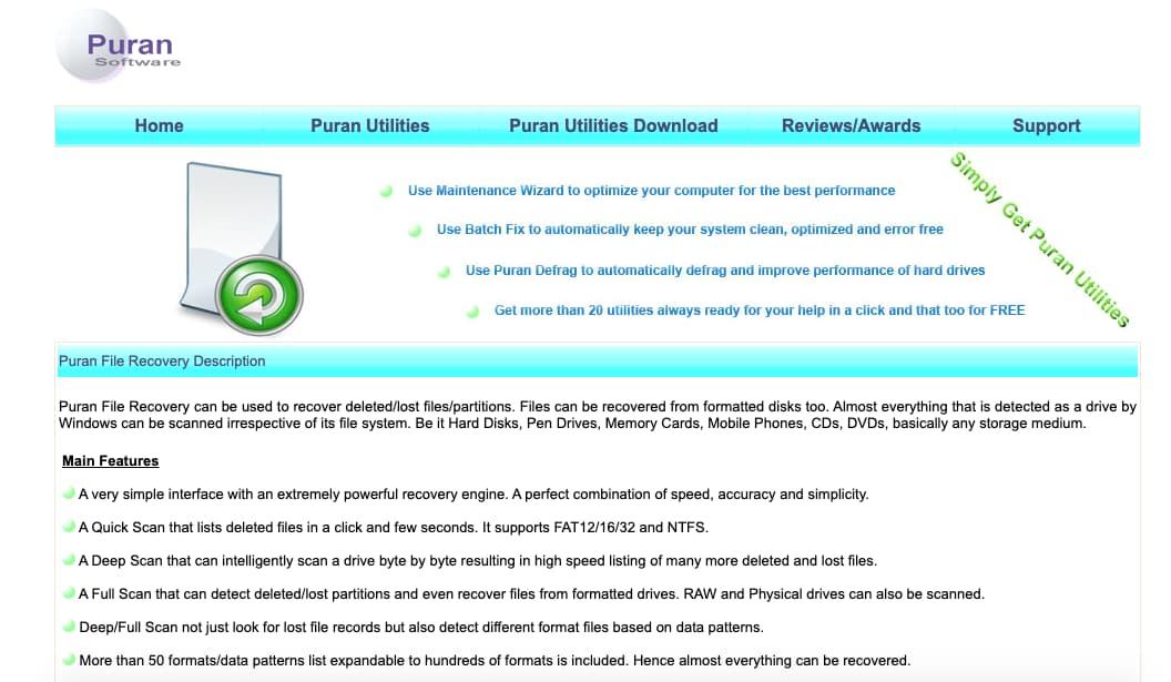 Programas para recuperar archivos: Puran File Recovery
