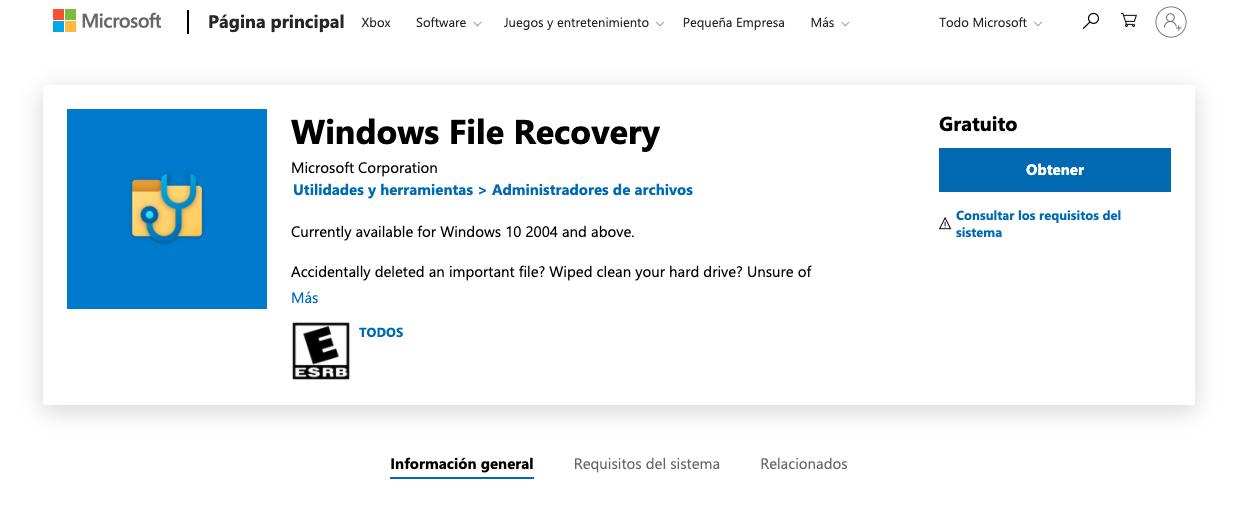 Programas para recuperar archivos: Windows File Recovery