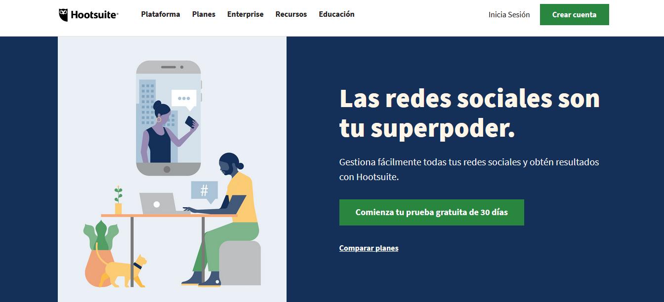 Herramientas para programar publicaciones en redes sociales: Hootsuite