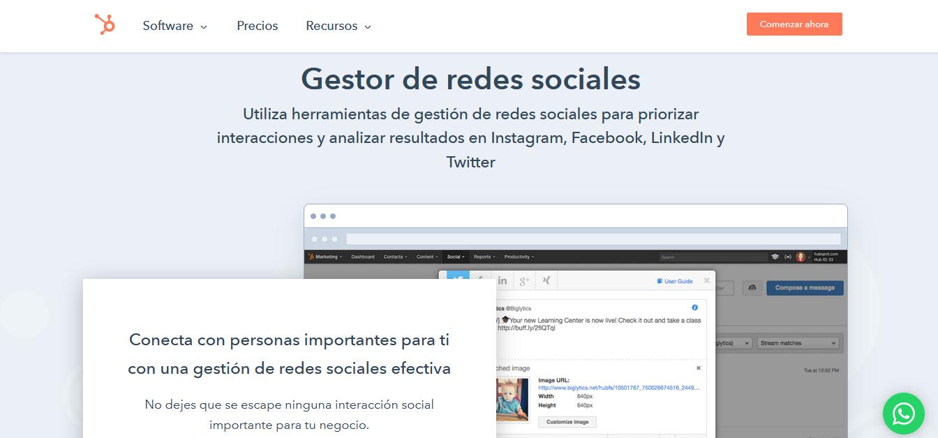 Herramientas para programar publicaciones en redes sociales: gestor de redes sociales de HubSpot