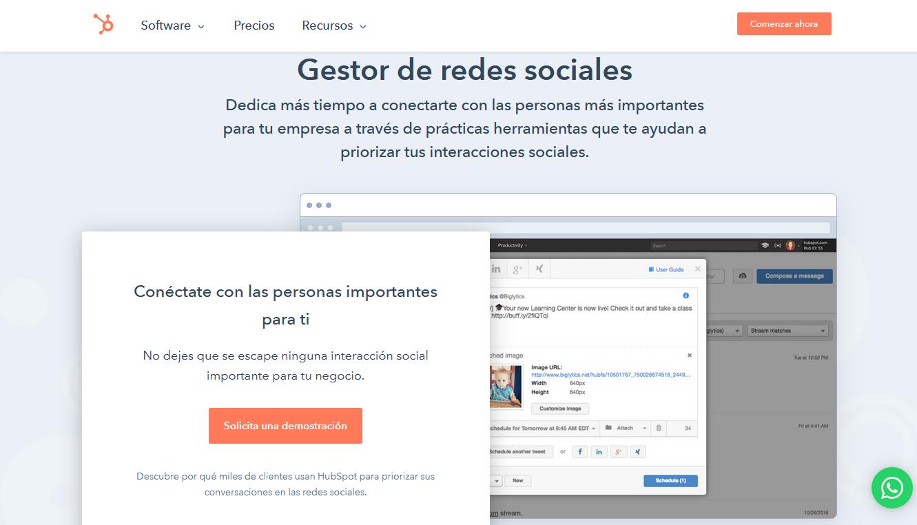 Gestores de redes sociales: Gestor de redes sociales de HubSpot