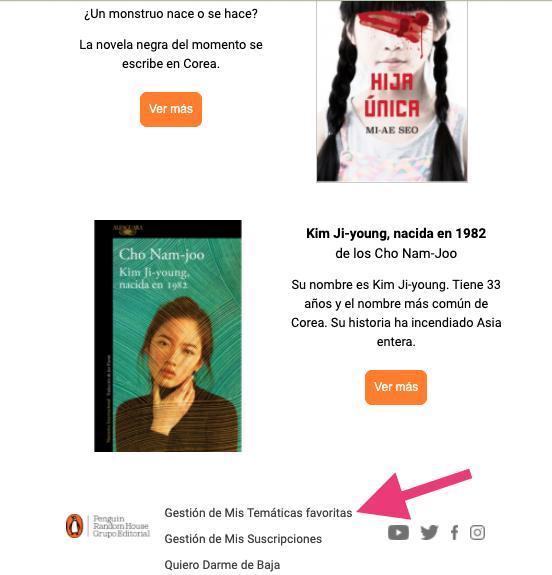 Menú para ajustes de temas favoritos del newsletter de Penguin España
