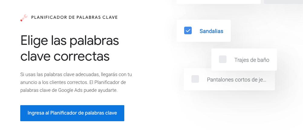Planificador de palabras clave de Google para inbound marketing