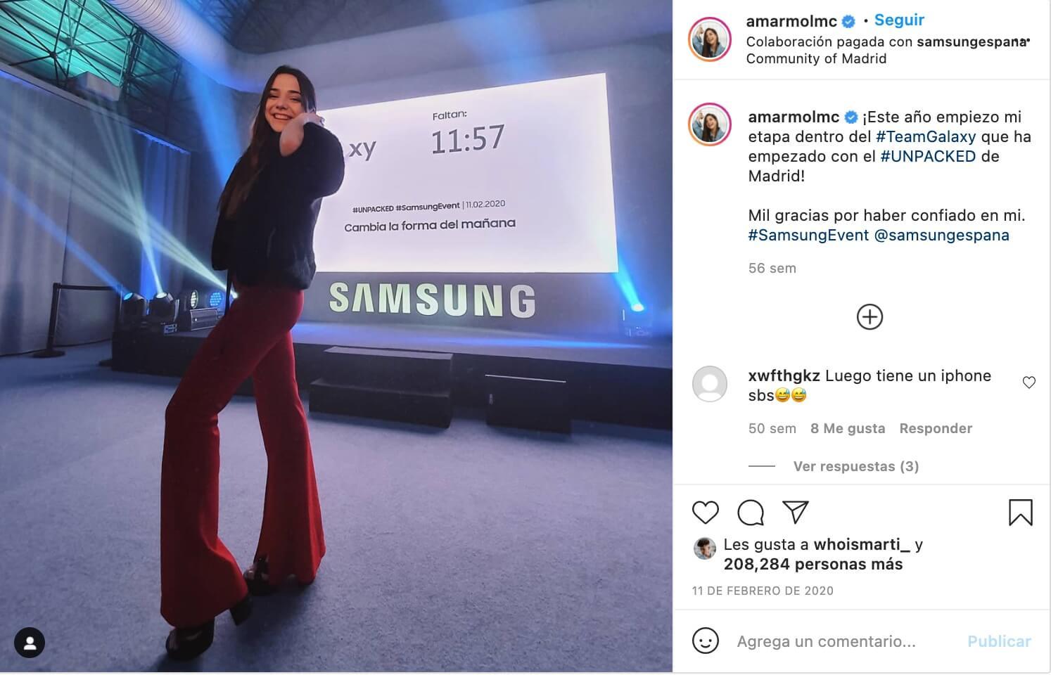 Ejemplo de marketing de influencia de Samsung