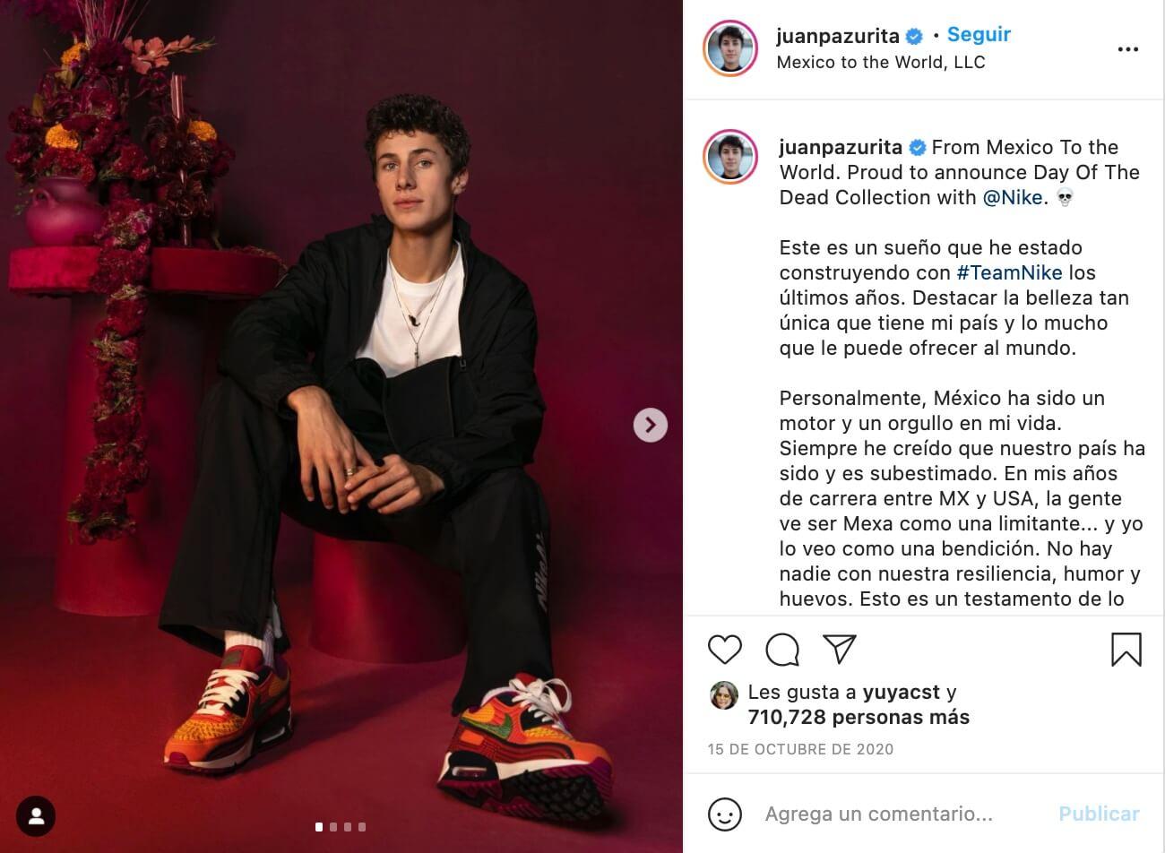 Influencers que promocionan marcas, Juanpa Zurita para Nike