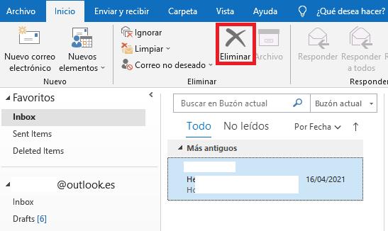 Cómo eliminar correos en Outlook