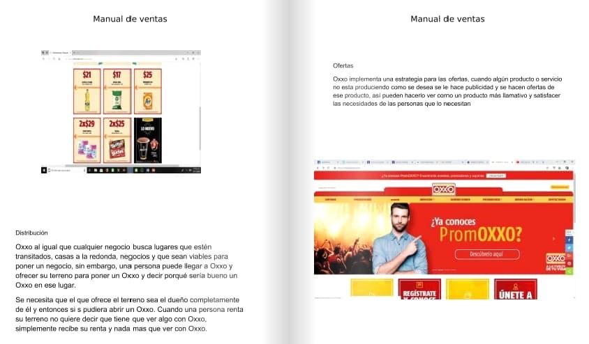 Ejemplo de manual de capacitación de ventas de Oxxo
