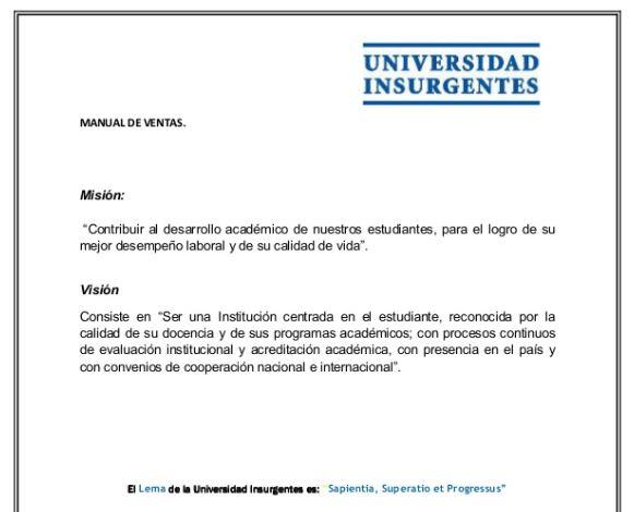 Ejemplo de manual de ventas de la Universidad Insurgentes