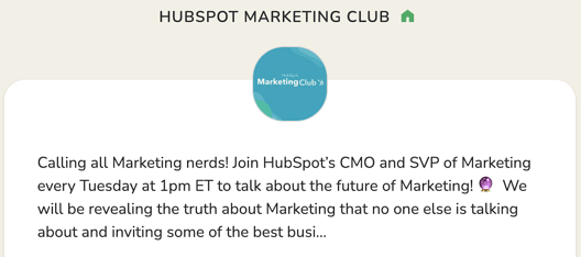 HubSpot Marketing Club en Clubhouse