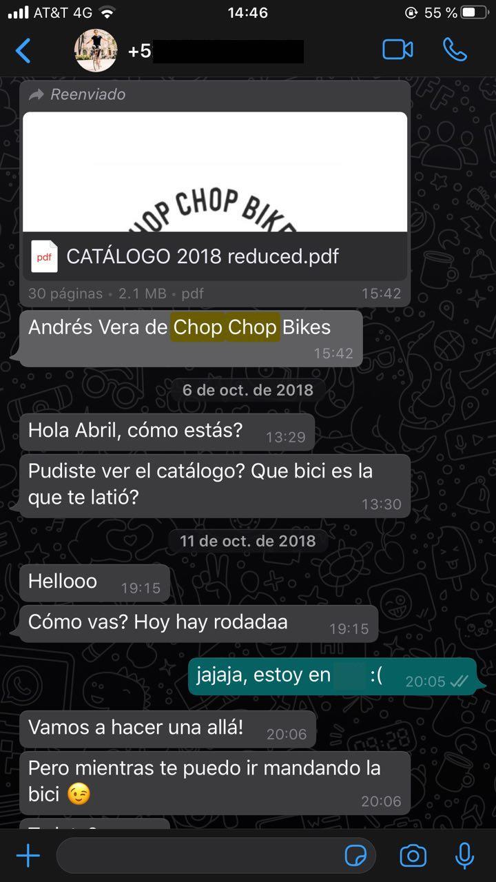 Ejemplo de marketing conversacional a través de WhatsApp de Chop Chop Nikes