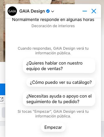 Ejemplo de marketing conversacional con bot en la página de Facebook de GAIA Design