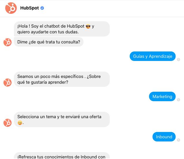 HubSpot, ejemplo de marketing conversacional con bot en la página de Facebook