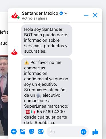 Ejemplo de marketing conversacional con bot en la página de Facebook de Santander