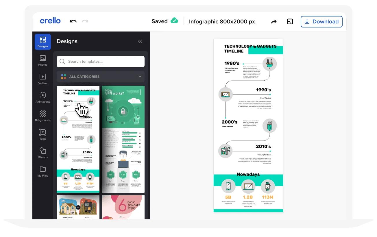 Crello, página para crear infografías gratis