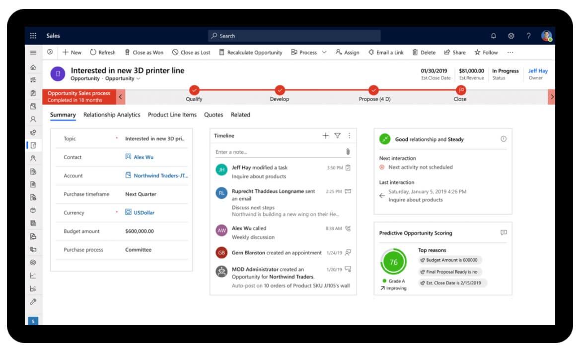 Microsoft Dynamics, software de ventas CRM y ERP