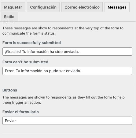 Mensajes predeterminados de formulario de contacto de WordPress