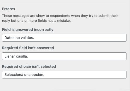 Errores en formulario de WordPress