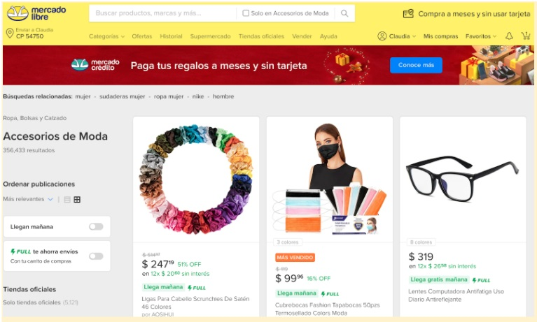Ejemplo de sitio web: tienda electrónica