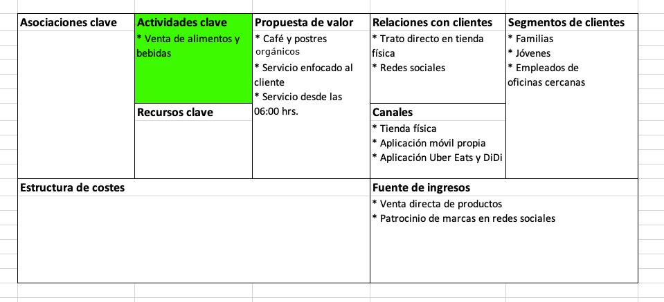 Elementos del modelo Canvas: actividades clave