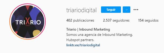 Número ideal de caracteres para la biografía de Instagram: ejemplo de Triario