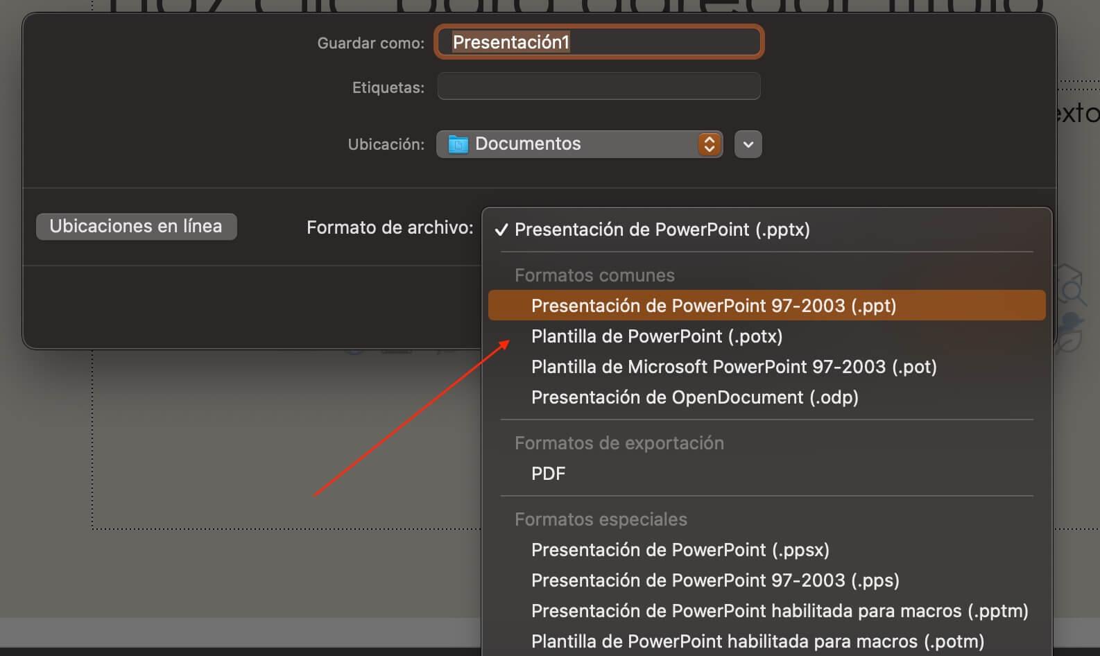 Cómo hacer una presentación de PowerPoint: selecciona «Guardar»