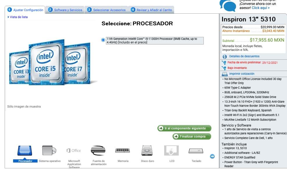 Ejemplo de personalización masiva en artículos de Dell