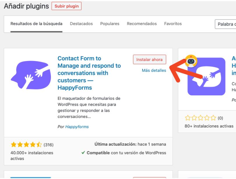 Formulario de contacto en WordPress: instalar plugin
